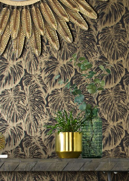 Luxury Wallpaper Wallpaper Raisa anthracite Room View