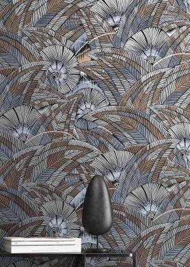 Papel pintado Siskara azul pichón Ver habitación