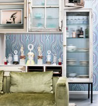 Wallpaper Mentana Matt Retro design Wavy pattern Pale green Cream Light blue Turquoise Violet