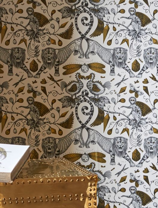 Funky Wallpaper Wallpaper Extinct pearl gold Room View