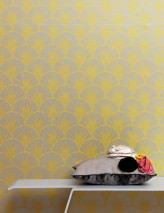 Wallpaper Nippon Hand printed look Matt Fan pattern Stylised leaves White aluminium Yellow
