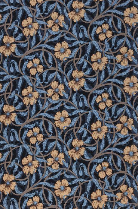 Papier peint floral Papier peint Esmeralda bleu gris Largeur de lé