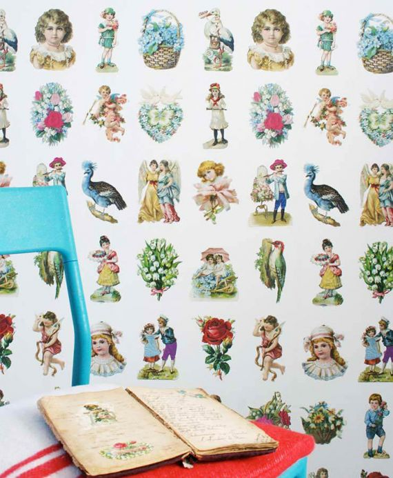 Studio Ditte Wallpaper Wallpaper Vintage Scraps multi-coloured Room View
