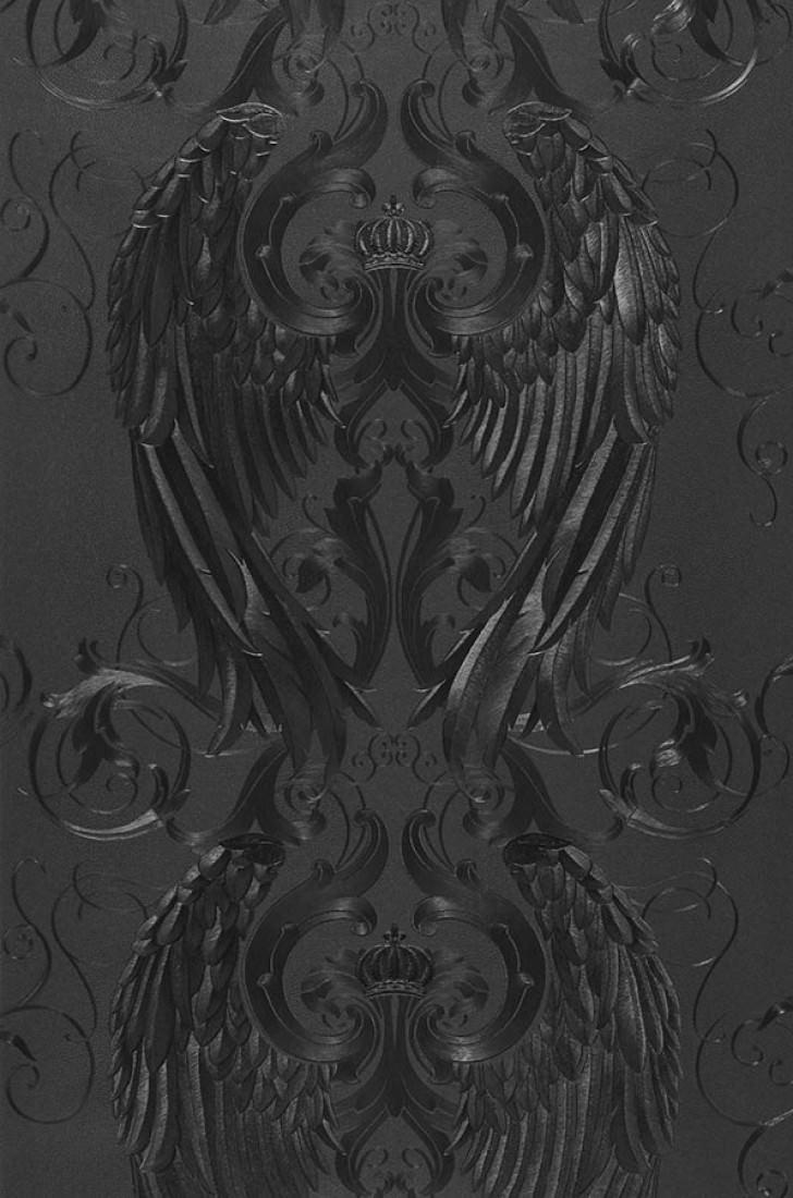 Papel pintado morrigan gris negruzco negro papeles - Papeles pintados de los 70 ...