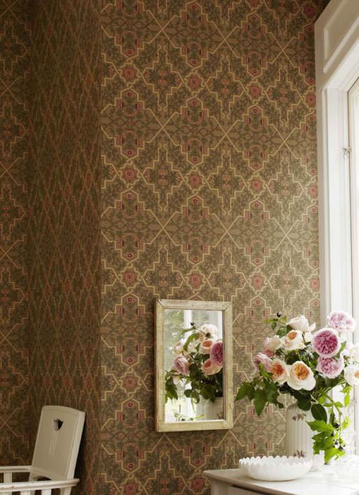 Archiv Wallpaper Camulos olive green Room View