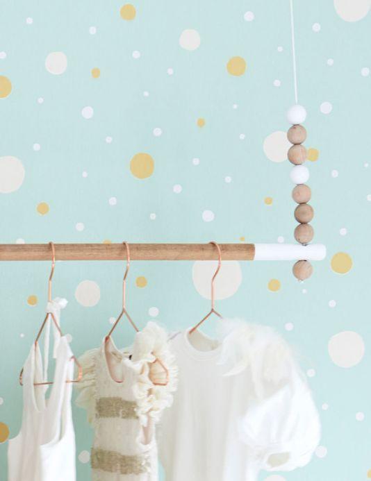 Papel pintado geométrico Papel pintado Confetti turquesa pastel Ver habitación