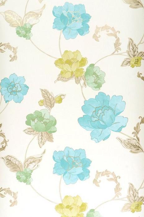 Papel pintado Florentina Mate Flores Blanco crema Verde amarillento Oro Verde Azul claro