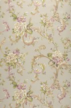 Wallpaper Aurora Hand printed look Matt Blossoms Floral damask Light grey beige Pale brown Cream Pastel violet Sand yellow Reed green