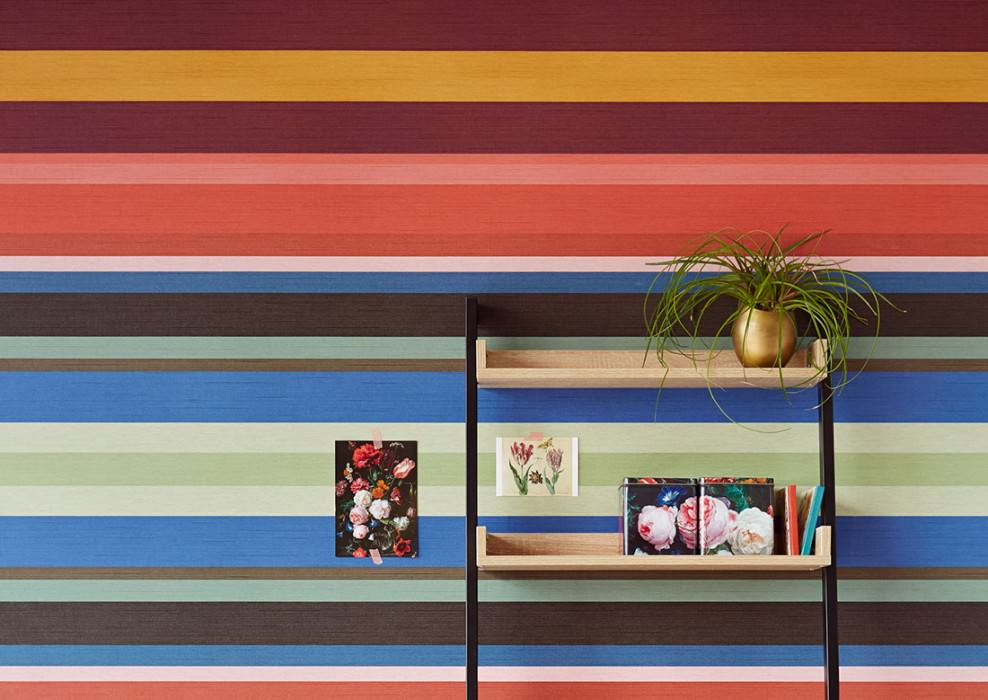 Wallpaper Keila Matt Looks like textile Stripes Blue Green Ochre  Red Black