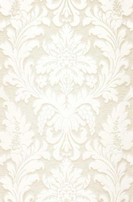 Wallpaper Marunda Matt Looks like textile Baroque damask Grey white White