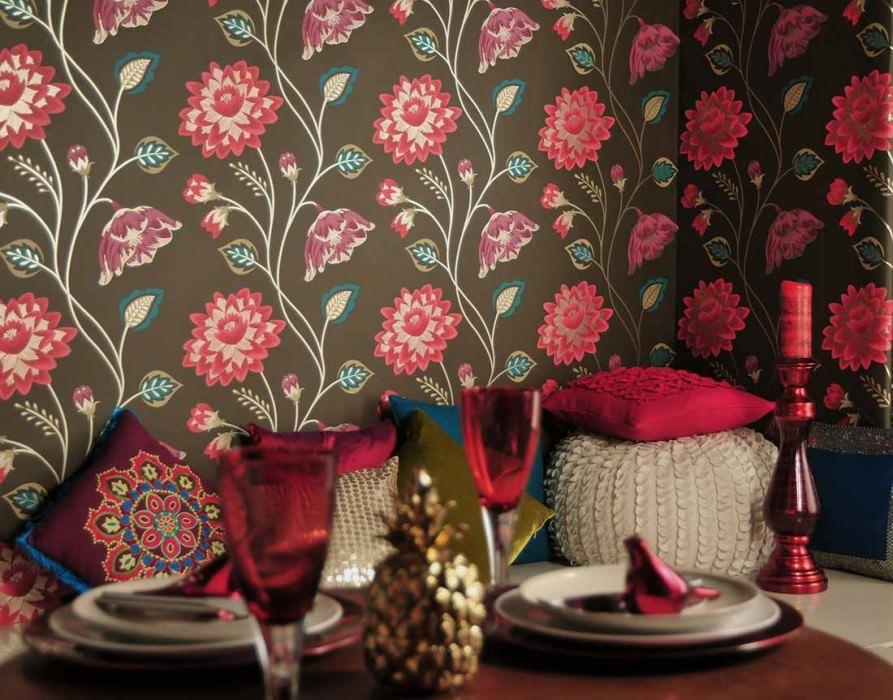 Wallpaper Olina Matt Flowers Dark brown Strawberry red Pearl beige Violet White gold