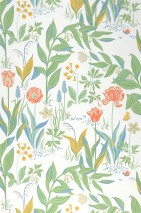 Wallpaper Charlotte Matt Flowers Butterflies Snails Cream Blue Yellow Green Light grey beige Red