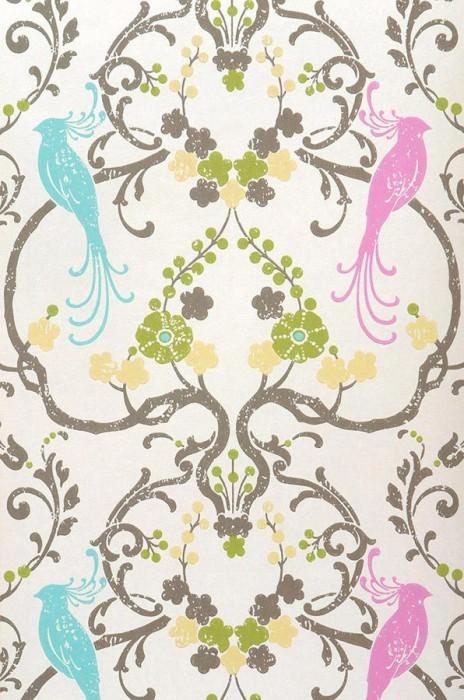 Wallpaper Bellona Matt Shimmering base surface Floral damask Birds Cream shimmer Yellow green Light blue Light brown grey Turquoise