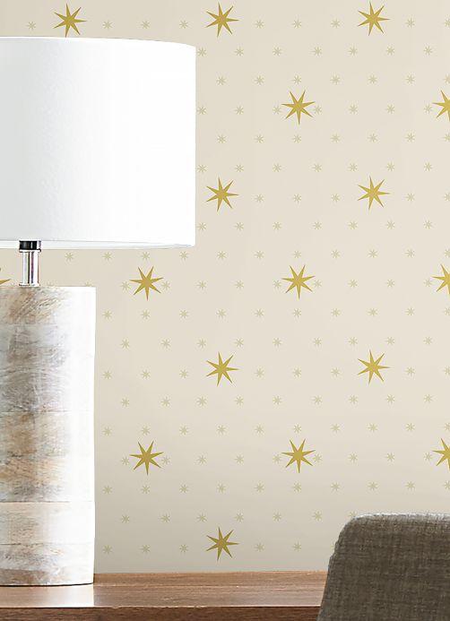 Papel pintado geométrico Papel pintado Mako blanco crema Ver habitación
