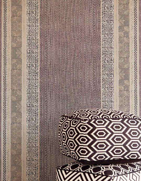 Papel pintado oriental Papel pintado Cemal gris negruzco Ver habitación