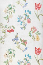 Wallpaper Mallorie Matt Blossoms Fruits Birds Cream Green Red Turquoise blue Violet blue