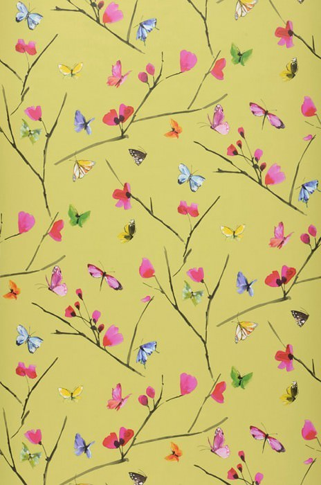 Wallpaper Darleen Matt Blossoms Butterflies Branches Light yellow green Heather violet Yellow Green Red