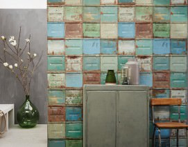 Wallpaper Container Matt Old metal containers Blue Brown Green Mint turquoise Orange