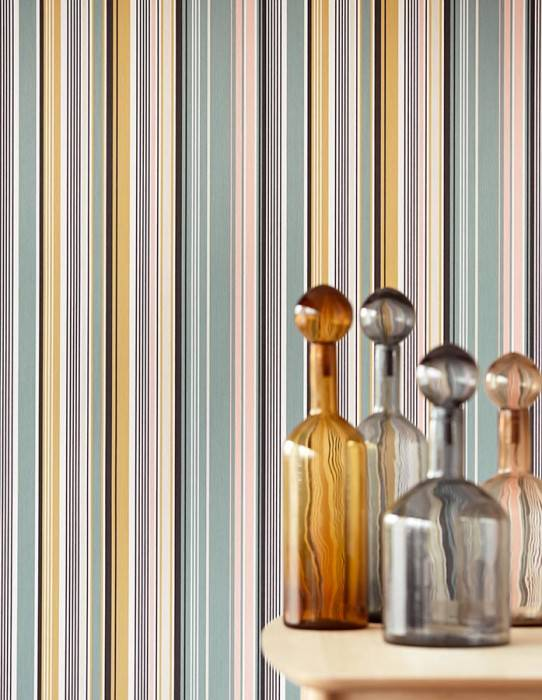 Wallpaper Sinja Matt Stripes Cream Light pink Mint grey Ochre yellow Black
