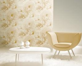 Papel pintado Melope Mate Flores Beige Blanco crema Marfil claro