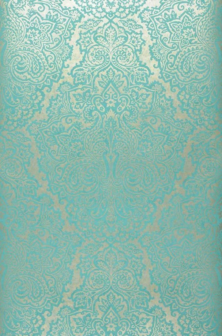 Papier peint perun or blanc bleu turquoise papier peint des ann es 70 - Papier peint annee 70 ...