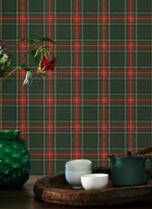 Wallpaper Madita Matt Looks like textile Plaid Blue Light yellow Red Black Fir tree green