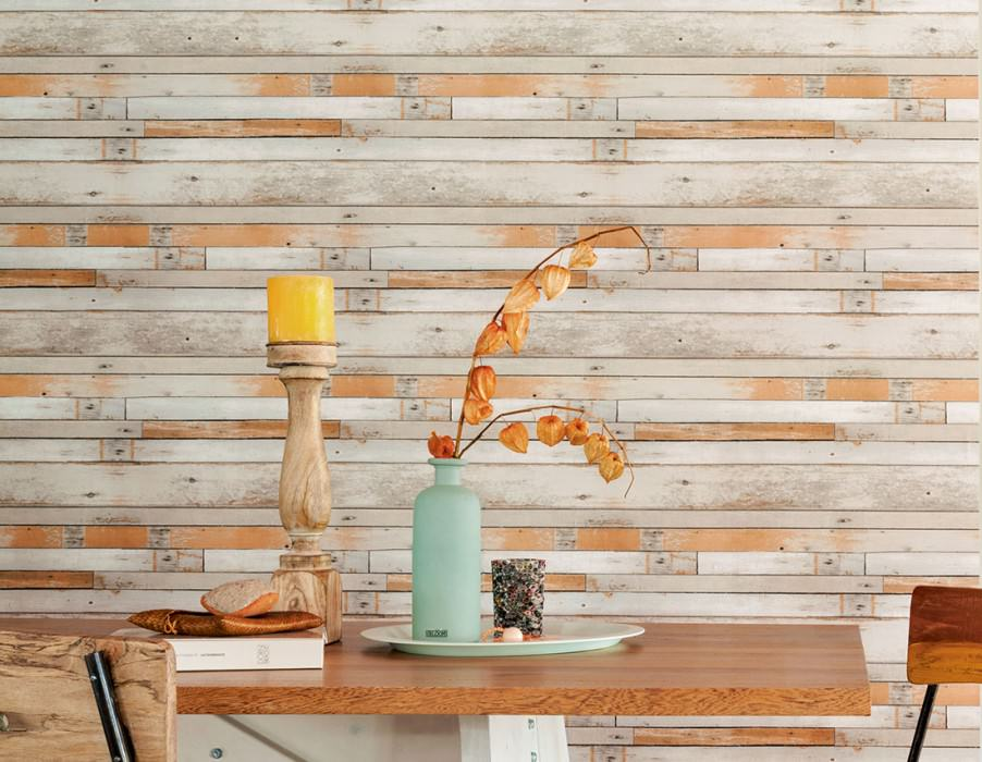 Wallpaper Shabby Planks Matt Shabby chic Old wooden boards Beige grey Cream Grey white Ochre brown