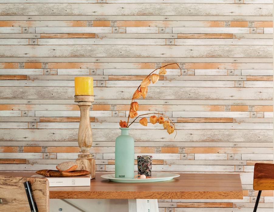 Papel de parede Shabby Planks Mate Shabby chic Velhas tábuas de madeira Cinza bege Branco creme Branco acinzentado Castanho Ocre