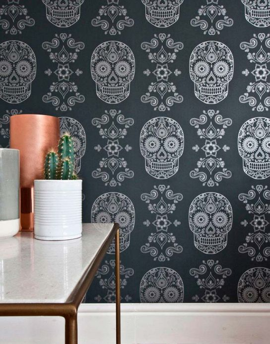 Papel de parede romântico Papel de parede Dia de los Muertos cinza negrusco Ver quarto