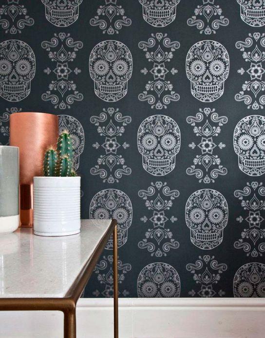 Romantic wallpaper Wallpaper Dia de los Muertos black grey Room View