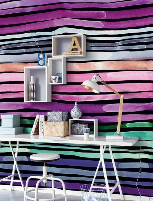 Papier peint à rayures Photo murale Barletta violet Vue pièce