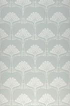 Papier peint Harmony Mat Damassé art nouveau Turquoise menthe Blanc crème