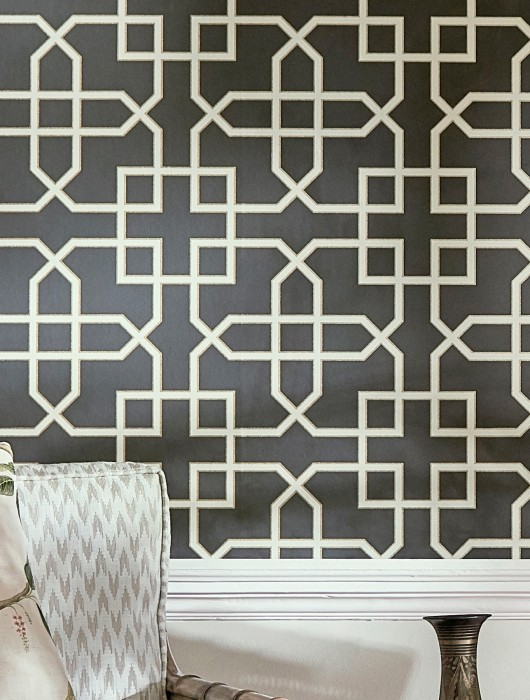 Wallpaper Ferro Matt Geometrical elements Anthracite Grey white Matt gold