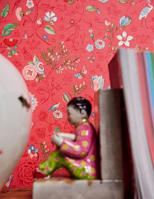 Wallpaper Carline Matt Leaves Blossoms Butterflies Birds Antique pink Beige red Blue Khaki Red White