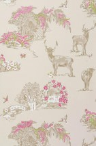 Wallpaper Farmville Hand printed look Matt Trees Flowers Deer   Light ivory Heather violet Grey beige Green
