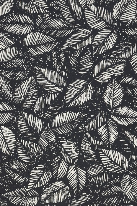 Wallpaper Diogenes Matt Leaves Cream Black