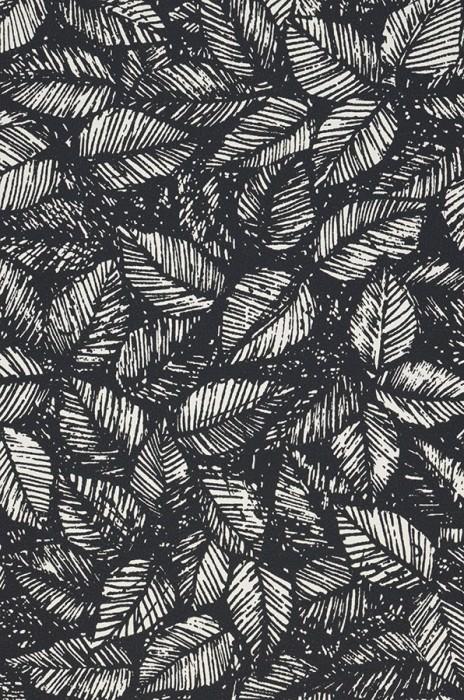 Papier peint Diogenes Mat Feuilles Blanc crème Noir Noir