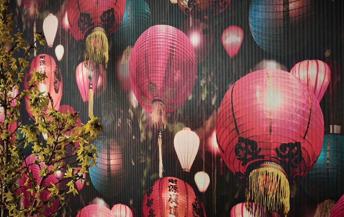 Wallpaper Mulan Matt Lanterns Green Black Blue Heather violet Yellow Orange