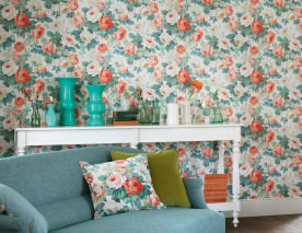 Wallpaper Carlotta Matt Roses Cream Green beige Green blue Salmon orange Mint turquoise Red