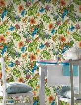 Wallpaper Jula Matt Leaves Flower tendrils Parrots Cream Shades of blue Shades of green Red orange Violet