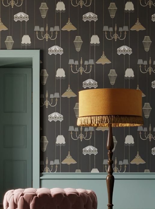 Funky Wallpaper Wallpaper Lampshade Heaven anthracite grey Room View