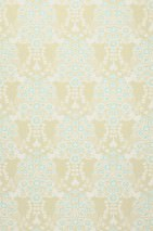 Wallpaper Estelle Hand printed look Matt Floral Elements Birds Light olive grey Cream Light green