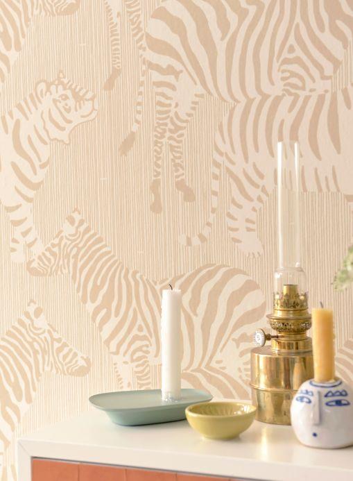 Papel pintado Majvillan Papel pintado Safari Stripes marrón pálido Ver habitación