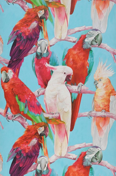 Wallpaper Cacadu Matt Parrots Light turquoise blue Cream Green Orange red Rose Violet