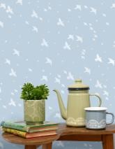 Papel de parede Hermine Mate Estrelas Pássaros Azul claro Branco