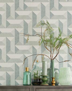 Papel pintado Rekel gris musgo Ver habitación
