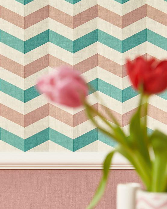 Retro wallpaper Wallpaper Maluscha mint turquoise Room View