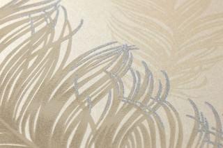 Papel pintado Feather Rain Mate Plumas Marfil claro Gris beige Beige claro  Azul pastel brillantina