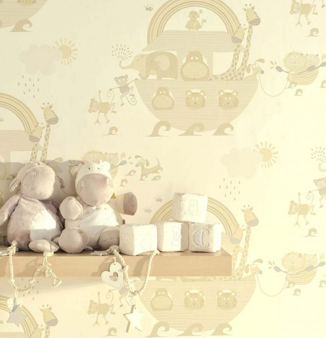 Archiv Wallpaper Cleo pale brown beige Room View