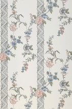 Wallpaper Laisa Matt Flower tendrils Stripes Cream Light grey Pastel blue Pastel green Black green Pale pink